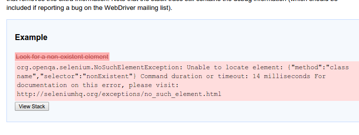 Example of exception message being translated